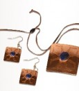 Conjunto Cobre ( Collar y Aros Rectangulares)